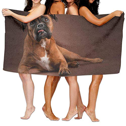 Thin Microfiber Beach Towel Blanket, Super Cozy and Highly Functional and Durable, Easy Care Machine Wash Beach Towel Beach Pool Custom Bath Towel Cool Lying Boxer Dog Super Absorbent Microfiber