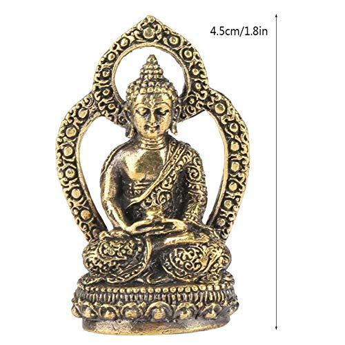 (Kiartten Buddha Statue - 1PCS Brass Small Buddha Statue Handmade Carved Figurine Crafts Furnishing Article)