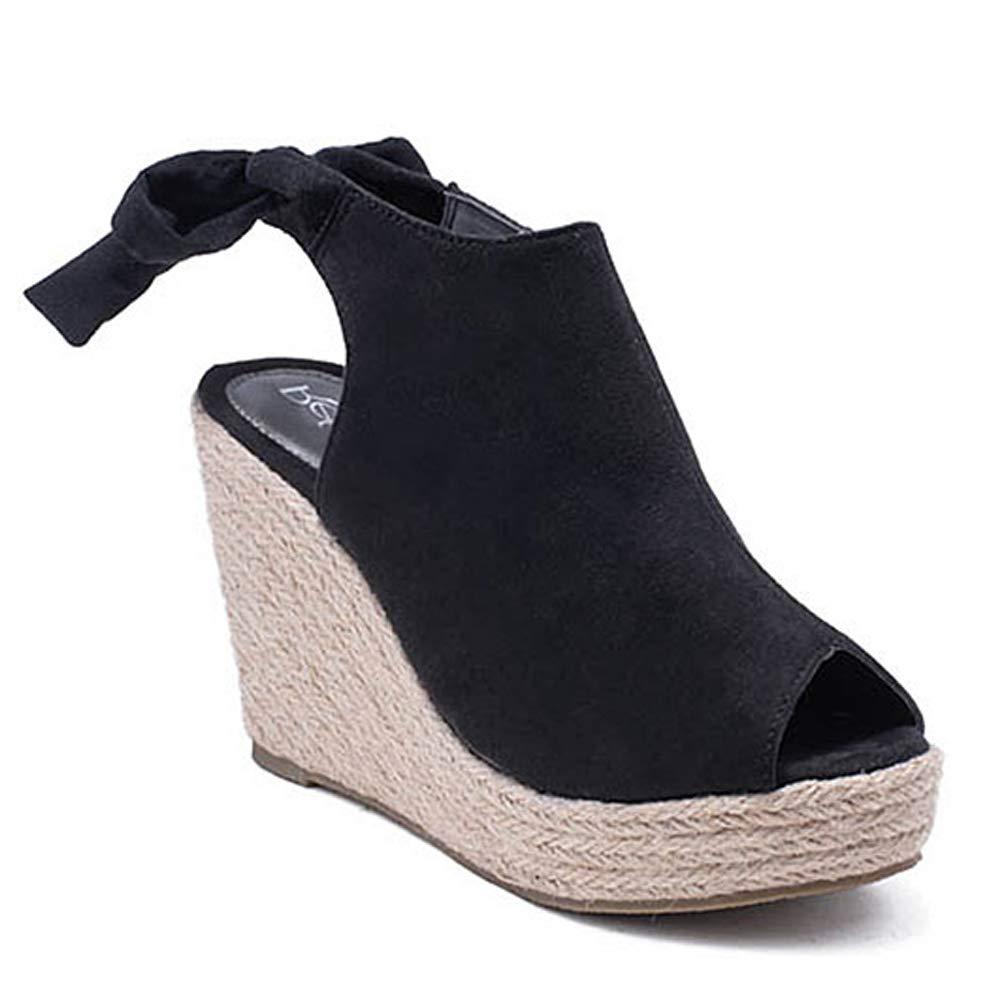 e7dbaff71f8 Women's Slingback Wedge Sandals Back Tie Peep Open Toe Lace Up Espadrille  Platform Shoes