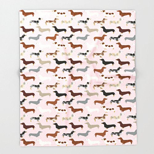 Society6 Dachshund doxie pet portrait hot dog weener dog breed funny small dogs puppy gifts for dachshund Throw Blankets 51