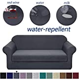 Granbest Premium Water Repellent Sofa Cover 2-Piece High Stretch Couch Slipcover Super Soft Fabric Couch Cover (Gray, Sofa-2 Pieces)