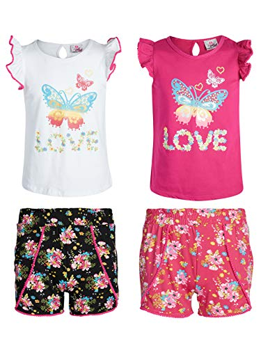 Real Love Girls' 4-Piece Yummy Short Set (2 Full Sets), Love, Size 7/8'