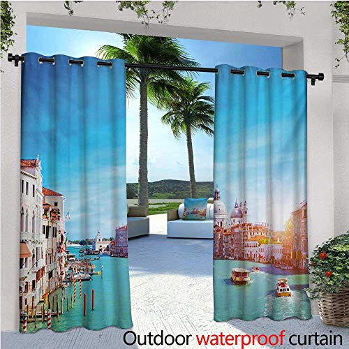r/Outdoor Single Panel Print Window Curtain Grand Canal and The Salute Basilica on Sunny Day Touristic Destination Silver Grommet Top Drape W120 x L96 Sky Blue White Cinnamon ()