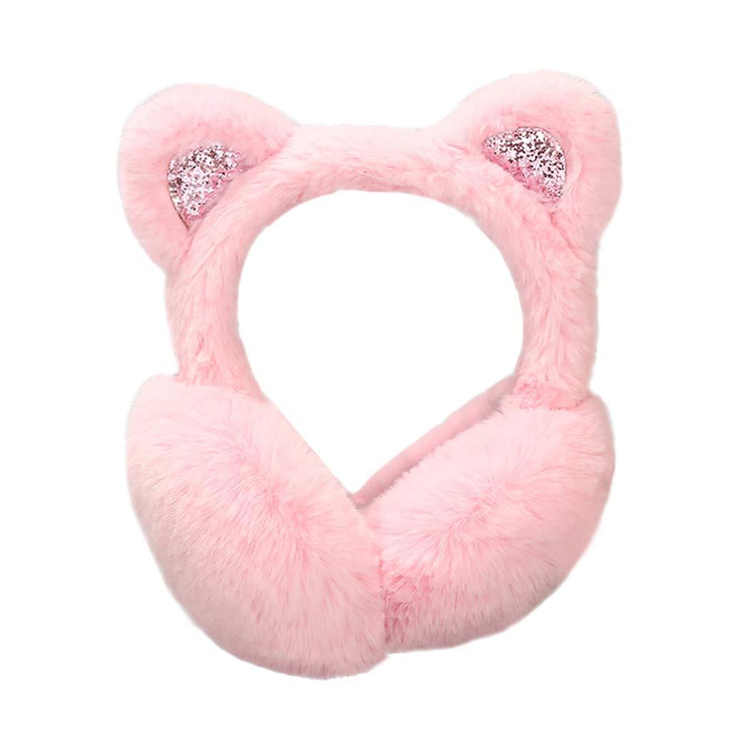 Hosamtel Women Cute Cat Ears Design Windproof Winter Warm Faux Fur Adjustable Earmuffs (2#Pink)