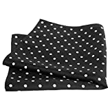 Black Silk Polka Dot Pocket Square - 17'' Handkerchief - 12mm Silk Twill