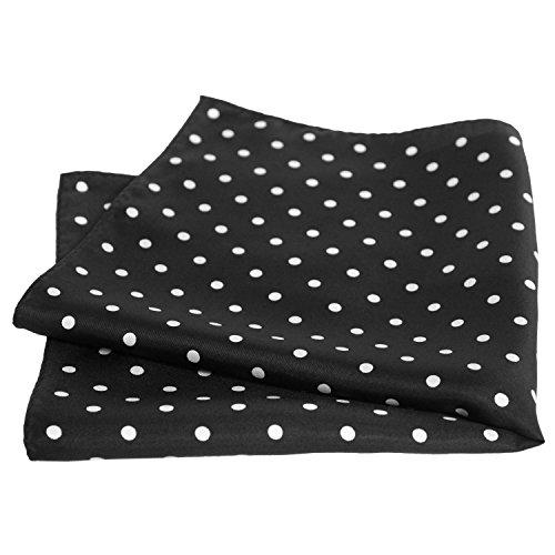 Black Silk Polka Dot Pocket Square - 17