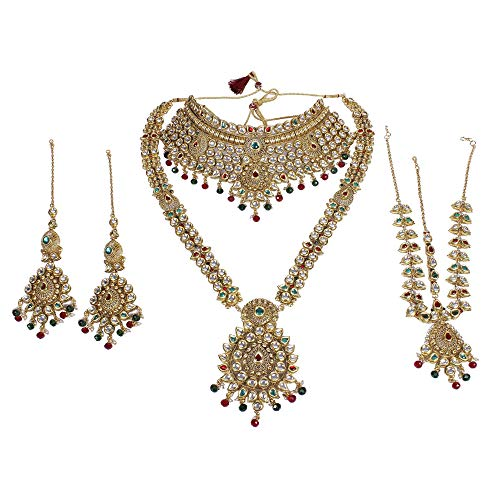 MUCH-MORE Traditional Indian Style Fabulous Polki Indian Necklace Earrings Bridal Set Jewelry (3119 MG)
