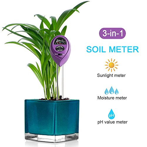 Water Gardening Lights (3-in-1 Soil Tester Kits, Moisture Soil Meter Sensor, Sunlight PH and Acidity Tester for Lawn Garden Plant Farm Indoor and Outdoor (No Battery needed) (Purple))