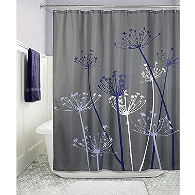 InterDesign Thistle Fabric Shower Curtain - 72 x 72-Inch, Gray/Purple