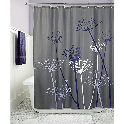 InterDesign Thistle Fabric Shower Curtain - 72 x 72-Inch, Gray/Purple