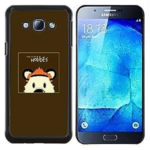 KLONGSHOP // Cubierta de piel con cierre a presión Shell trasero duro de goma Protección Caso - HOBBES TIGRE - Samsung Galaxy A8 A8000 //