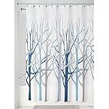 InterDesign Forest Fabric Shower Curtain, 72 x 72, Blue/Gray