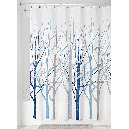 InterDesign Forest Fabric Shower Curtain, 72 x 72, Blue/Gray