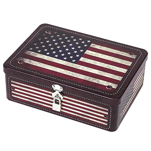 Flag Vintage Metal - Retro Style American Flag Tin Storage Box with Padlock, Decorative Metal Organizer Case