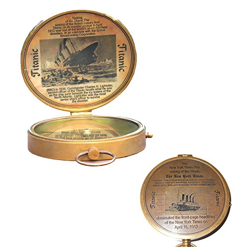 (Collectibles Buy Antique Lid Titanic Compass Brass Finish Vintage Nautical Sailor Article - Maritime Magnetic Gift)