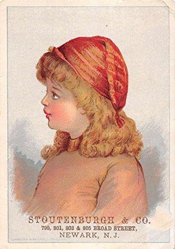 Newark New Jersey Stoutenburgh Girl Hat Brundage Antique Trade Card K83918