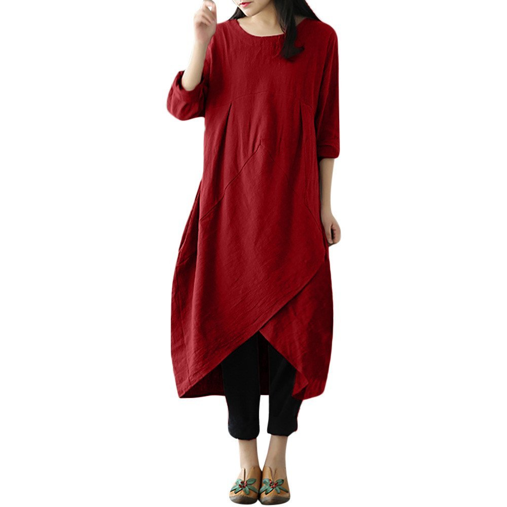 Dress For Womens,HOT SALE!!Farjing Women Plus Size Vintage Long Sleeve Baggy Maxi Dress (XL,Red)