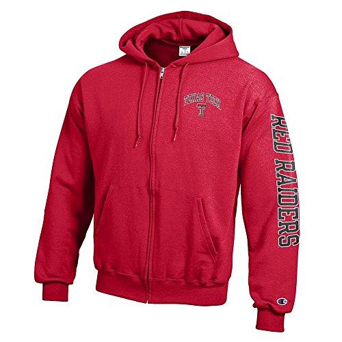 (Elite Fan Shop Texas Tech Red Raiders Full Zip Hooded Sweatshirt Letterman Scarlet - XL)