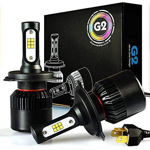 JDM ASTAR G2 8000 Lumens Extremely Bright CSP Chips H4 9003 All-in-One LED Headlight Bulbs Conversion Kit, Xenon White ()