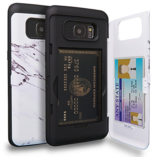 TORU CX PRO Galaxy S7 Edge Wallet Case Pattern with Hidden ID Slot Credit Card Holder Hard Cover & Mirror for Samsung Galaxy S7 Edge - Marble Stone