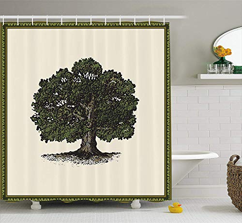 Home Decor Collection Shower Curtain by Lonely Oak with a Vintage Frame Design with an Off White Background Cloth Fabric Bathroom Decor Set with Hooks