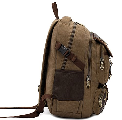 0647a726b07a DRF Vintage Canvas Backpack Tactical Military Style 15.6 Laptop School Bag  Rucksack BG-77 (Brown)