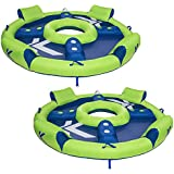 Kelsyus Big Nauti 4-Person Inflatable Pool Float Tube Raft, Green & Blue | 80108 (2 Pack)