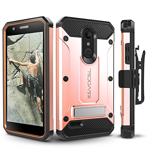 LG K30 / LG Premier Pro/LG Harmony 2 Case, Evocel Heavy Duty Protection with Glass Screen Protector, Rugged Holster, and Kickstand, Explorer Series Pro - Rose Gold