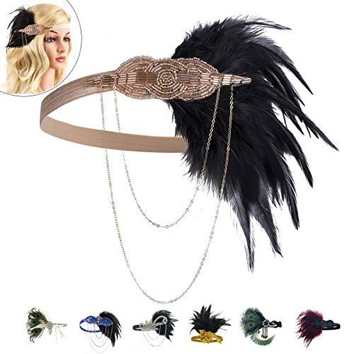 1920 Accessories Feather Flapper Headband - Great Gatsby Women Vintage Headpiece (Black7) -