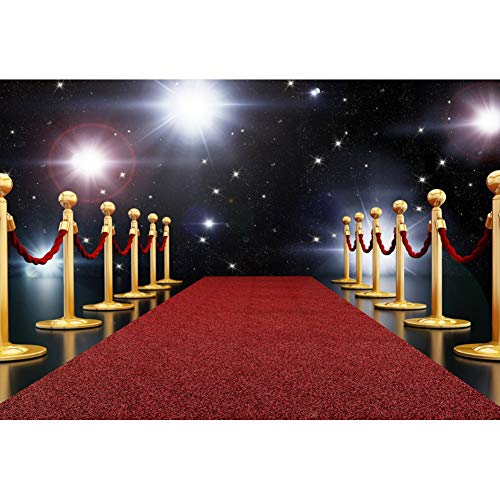 AOFOTO 7x5ft Red Carpet Backdrops for Parties Spotlights Movie Premiere Stars Photoshoot Background for Photography Hollywood Night Bithday Party Decoration Photos Prop