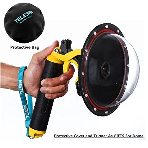 Vicdozia Dome Port Lens Waterproof Housing Diving Case Compatible with GoPro Hero 4, Hero 3+, Hero 3 with Pistol Trigger and Hand Floating Grip Underwater ()