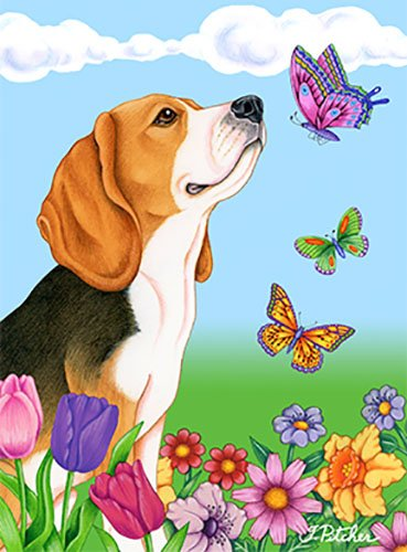 Beagle Garden Flag - Best of Breed Beagle Butterfly Garden Flag