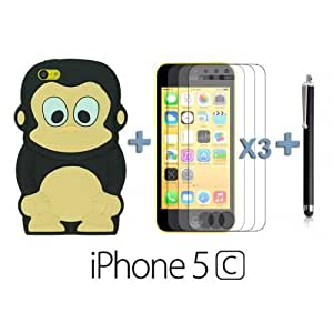 Monkey Style 3D Silicon For SamSung Galaxy S5 Case Cover - Black with 3 Screen Protectors and Stylus