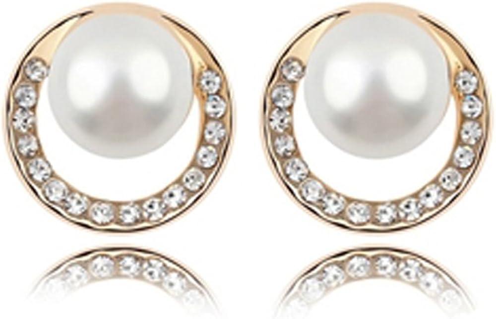 Oro 18k Rose plateó la perla Stud Pendientes con diamantes de imitación viene en una caja de regalo libre/bolsa