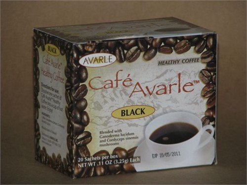Cafe Avarle Black Coffee with Ganoderma and Cordyceps by Avarle s 20 Sachets