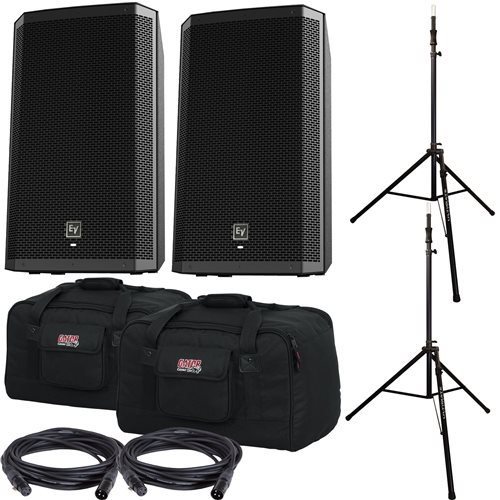 Electro-Voice EV ZLX15P Speakers & Ultimate TS-100-B Stands w/ Gator Totes by Electro Voice