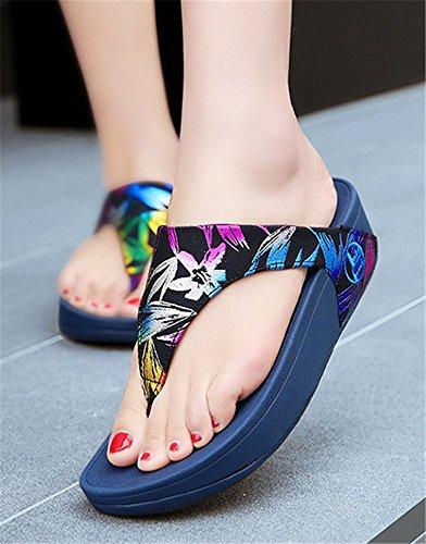 Flip Tongs Femme de Flops Bleu Comfortable Chaussons Compensée Pantoufles Plage Clip YOGLY D'été Sandales Toe x8dqZ5Hanw