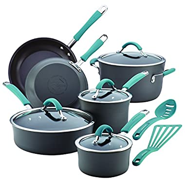 Rachael Ray Cucina 87641 12-Piece Cookware Set, Gray