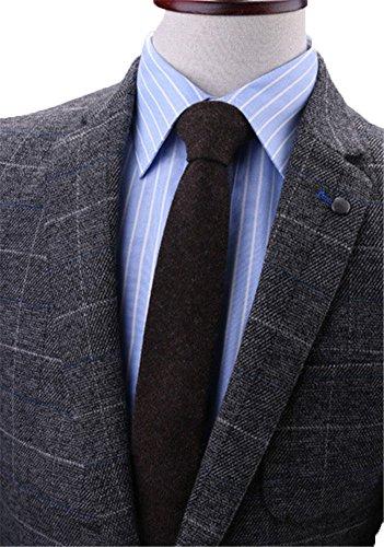 Mens Skinny Cashmere Wool Grey Tie Neckwear Necktie Best Neckwear Dark Brown Cashmere Wool Tie