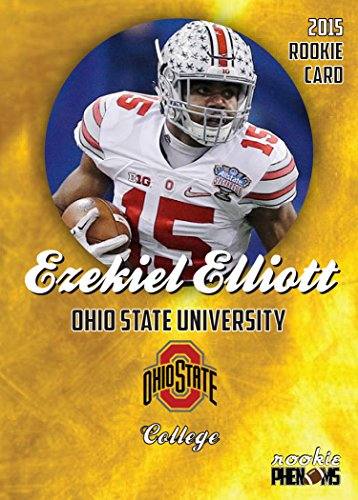 EZEKIEL ELLIOTT 2015 OHIO STATE COLLEGE FOOTBALL GOLD ROOKIE CARD IN A ONE TOUCH MAGNETIC CASE