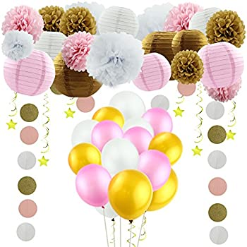 Amazoncom Paxcoo 123 Pcs Pink and Gold Baby Shower Decorations