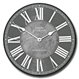 Waterford Gray Wall Clock, Available in 8 sizes, Most Sizes Ship 2 - 3 days, Whisper Quiet.