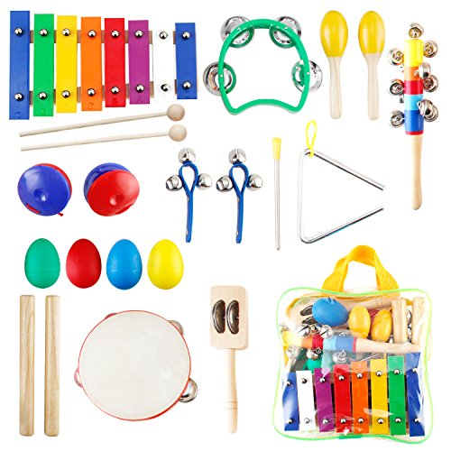 Toddler Toys Kids Musical Instruments, Kictero Wooden Baby Toys Percussion Set Rhythm Band Instruments Preschool Educational Musical Learning Toys for Girls and Boys