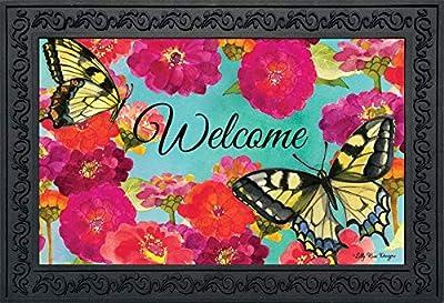 """Briarwood Lane Morning Butterflies Spring Doormat Floral Indoor Outdoor 18""""x30"""""""