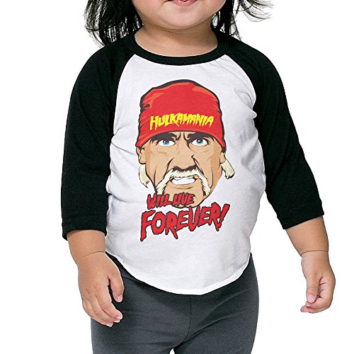Hulk-Hogan-Hulkamania-Will-Live-Forever-Childrens-34-Sleeve-Baseball-T-Shirt-Black