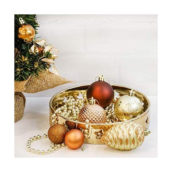 Valery Madelyn Palle di Natale 100 Pezzi di Palline di Natale, 3-5 cm di Rame del Bosco e Oro Infrangibile Ornamenti di Palla di Natale Decorazione per la Decorazione Dell'Albero di Natale 6 spesavip
