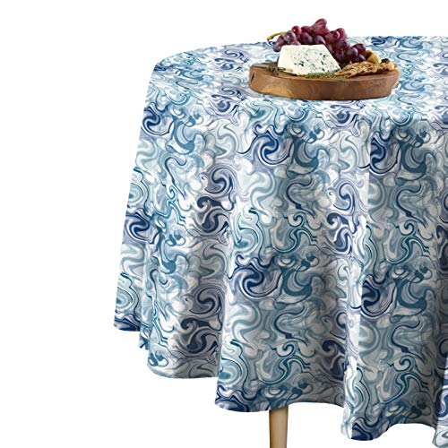 - Fabric Textile Products Blue Swirls Tablecloth 84