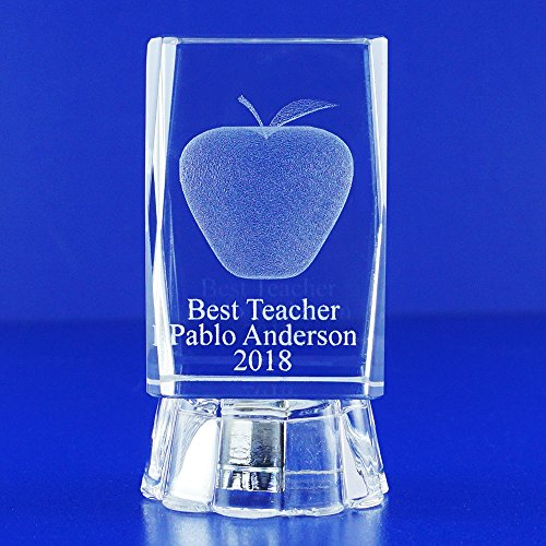 Best Teacher Awards (1 pc) Personalized Custom Laser Etched Engraving 3D Apple Crystal Glass Cube (3