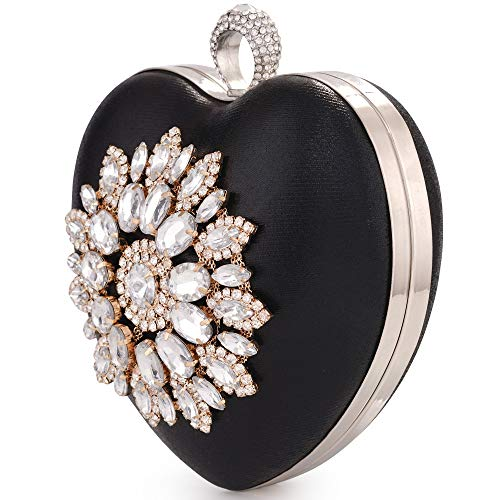 Womens Heart Shape Rhinestone Clutch Bridal Wedding Party Prom Evening Bag Compact Purse Handbag (Black)