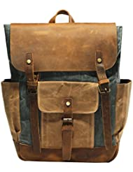 Vintage Waterproof Waxed Canvas Leather laptop computer Backpack College School Bookbag Travel Rucksack 15.6...